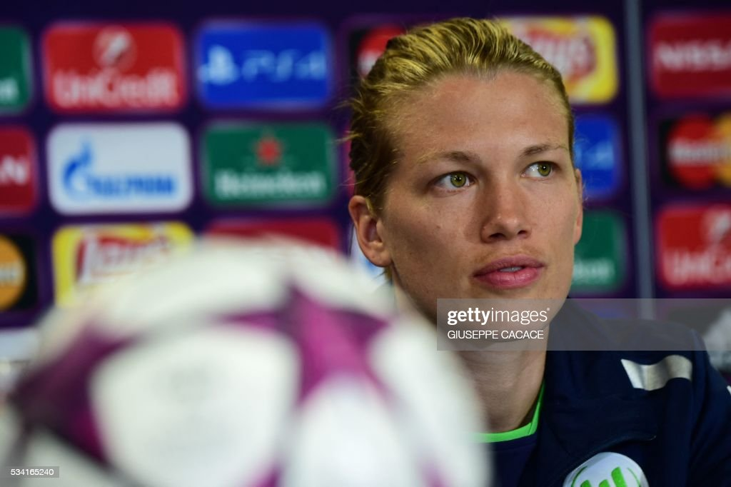 VFL Wolfsburg midfielder Lara Dickenmann from Switzerland attends a press conference on the eve of the UEFA Women's Champions League Final match against OL Lyon on May 25, 2016 at the Stadio Citta del Tricolore in Reggio Emilia. / AFP / GIUSEPPE
