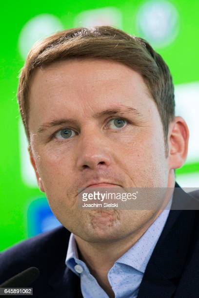 Wolfsburg sporting director Olaf Rebbe speaks to the media during a press conference to unveil new head coach Andries Jonker at Volkswagen Arena on...