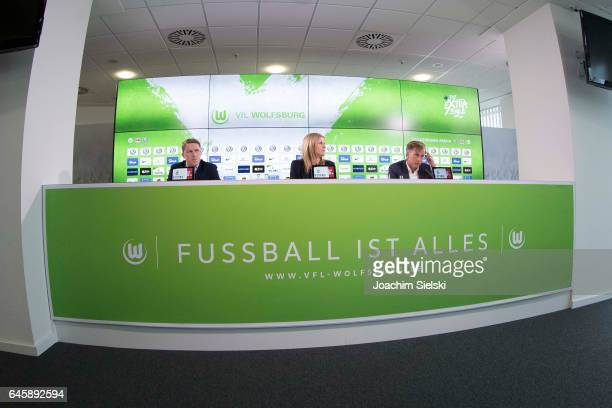 Wolfsburg sporting director Olaf Rebbe unveils new head coach Andries Jonker during a press conference at Volkswagen Arena on February 27 2017 in...