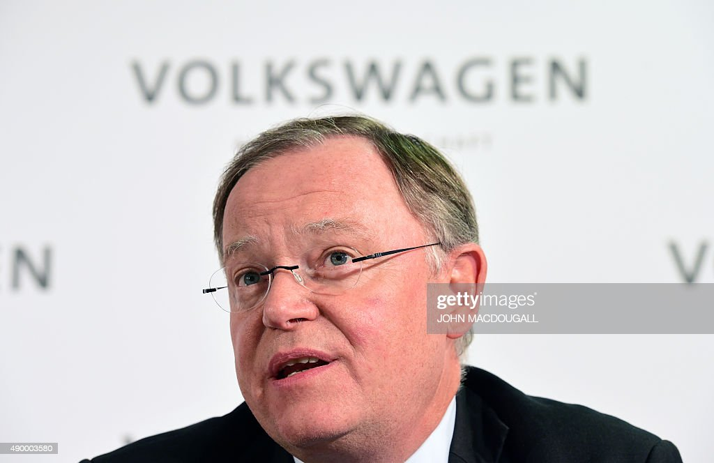 Wolfsburg Supervisory board member <a gi-track='captionPersonalityLinkClicked' href=/galleries/search?phrase=Stephan+Weil&family=editorial&specificpeople=4683319 ng-click='$event.stopPropagation()'>Stephan Weil</a> addresses a press conference at the company's the headquarters in Wolfsburg, central Germany, on September 25, 2015 after the company's supervisory board meeting. Matthias Mueller, previously head of luxury sportscar maker Porsche, takes the steering wheel at scandal-hit Volkswagen, replacing Martin Winterkorn who quit over the global pollution cheating scandal engulfing the group. AFP PHOTO / JOHN MACDOUGALL