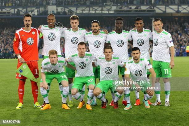 Wolfsburg Team Top Row Goalkeeper Diego Benaglio Ronaldo Naldo Robin Knoche Ricardo Rodriguez Junior Malanda Luiz Gustavo and Ivica Olic Bottom Row...