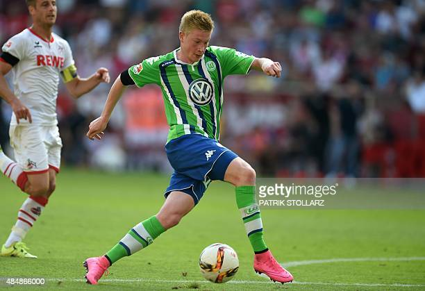 Wolfsburg's Belgian midfielder Kevin De Bruyne plays the ball during the German first division Bundesliga football match FC Koeln v VfL Wolfsburg on...