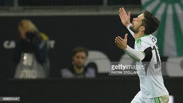 Wolfsburg's Brazilian midfielder Diego celebrates during the German first division Bundesliga football match VfL Wolfsburg vs VfB Stuttgart in the...