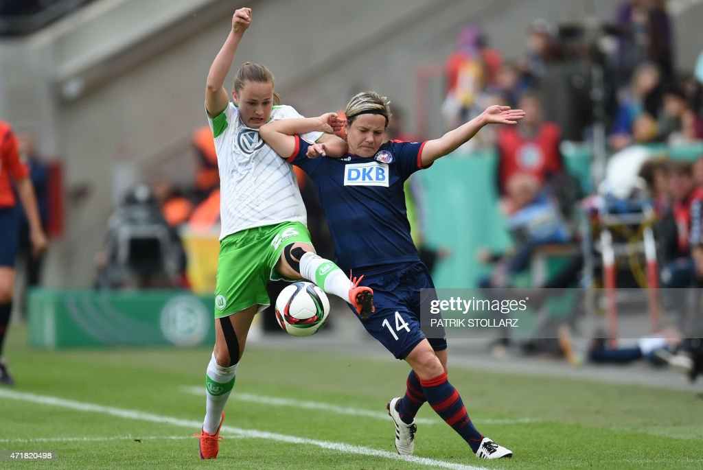 Wolfsburg´s Caroline Hansen (L) and Potsdam´s Jennifer Zietz vie for the ball during the Women's German Cup DFB Pokal final football match between Turbine Potsdam and VfL Wolfsburg in Cologne, western Germany, on May 1, 2015. AFP PHOTO / PATRIK STOLLARZ USE