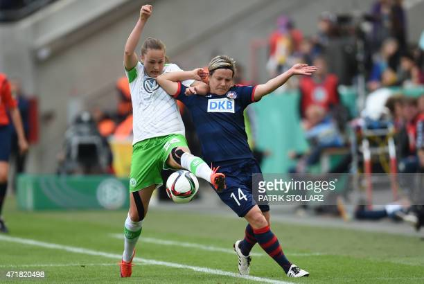 Wolfsburg´s Caroline Hansen and Potsdam´s Jennifer Zietz vie for the ball during the Women's German Cup DFB Pokal final football match between...