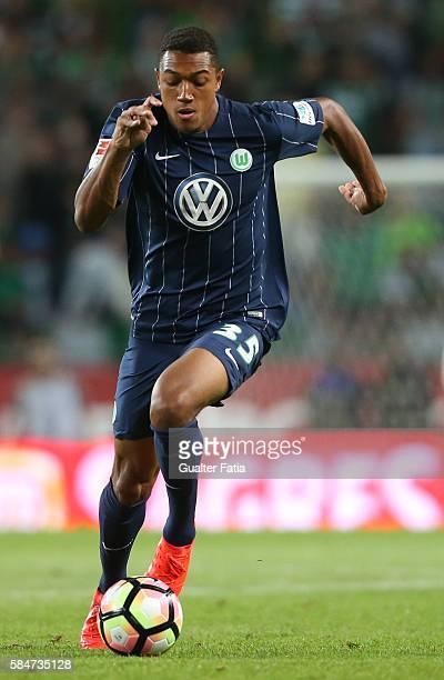 Wolfsburg's defender AntonLeander Donkor in action during the Pre Season Friendly match between Sporting CP and Wolfsburg at Estadio Jose Alvalade on...