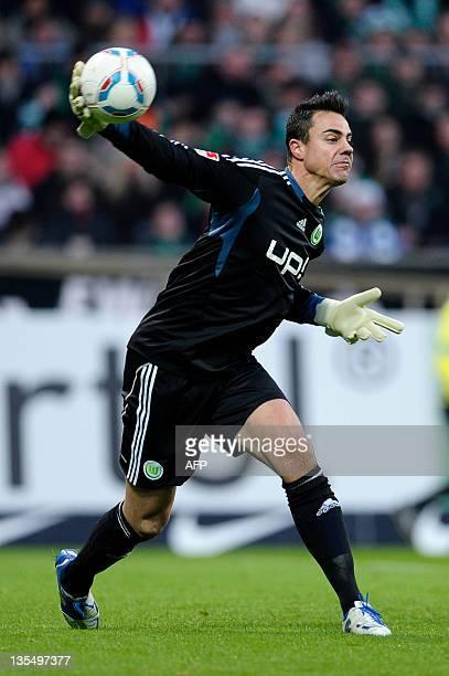 Wolfsburg's goalkeeper Diego Benaglio plays the ball during the German first division Bundesliga football match SV Werder Bremen vs VfL Wolfsburg in...