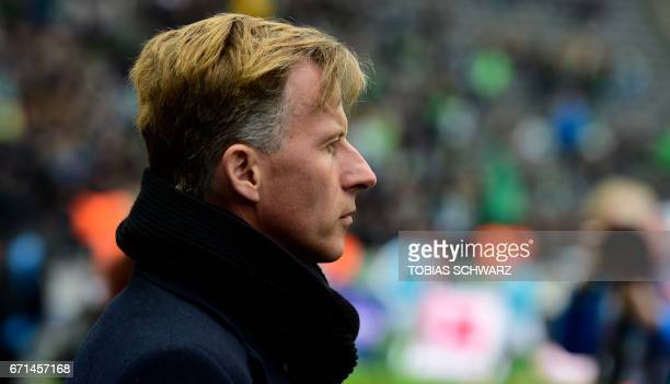 Wolfsburg's head coach Andries Jonker awaits the start of the German First division Bundesliga football match between Hertha Berlin and VfL Wolfsburg...