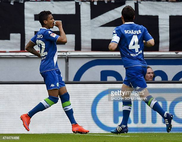 Wolfsburg's Luiz Gustavo celebrates scoring the 11 goal with his teammates during German first division Bundesliga football match 1 FC Cologne vs VfL...