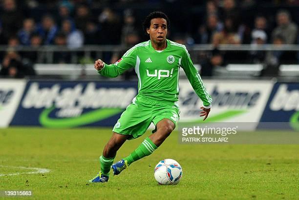 Wolfsburg's Venezuelan midfielder Yohandry Orozco plays the ball during the German first division Bundesliga football match FC Schalke 04 vs VfL...