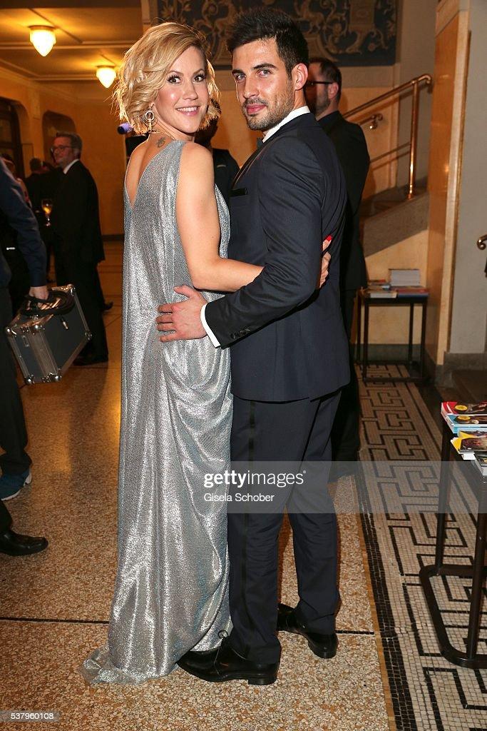 Wolke Hegenbarth and her boyfriend Oliver during the Bayerischer Fernsehpreis 2016 at Prinzregententheater on June 3 2016 in Munich Germany
