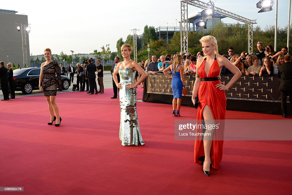 Wolke Hegenbarth and Melanie Mueller attend the red carpet of the Deutscher Fernsehpreis 2014 at Coloneum on October 2 2014 in Cologne Germany