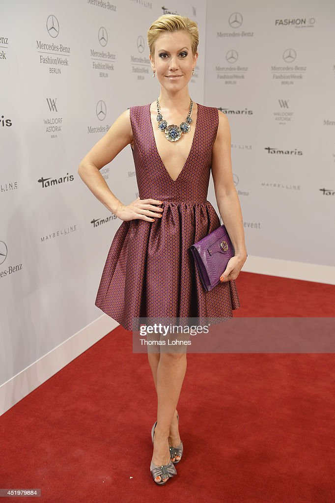 Wolke Hegenbarth attends the Dimitri show during the MercedesBenz Fashion Week Spring/Summer 2015 at Erika Hess Eisstadion on July 10 2014 in Berlin...