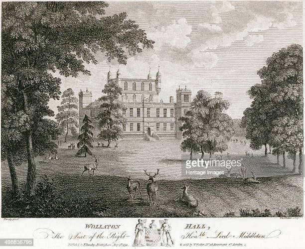 Wollaton Hall Nottingham Nottinghamshire 1791 View of the northwest front and entrance Sir Francis Willoughby began to build his new hall at Wollaton...