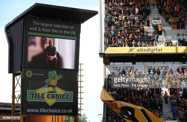 Wolverhampton Goalkeeper Carl Ikeme is seen on the big screen before the game during the Sky Bet Championship match at Molineux Wolverhampton