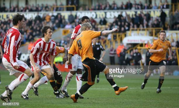Wolverhampton Wanderers' Andy Keogh score s the 2nd goal against Stoke City during the CocaCola Championship match at Molineux Wolverhampton Picture...