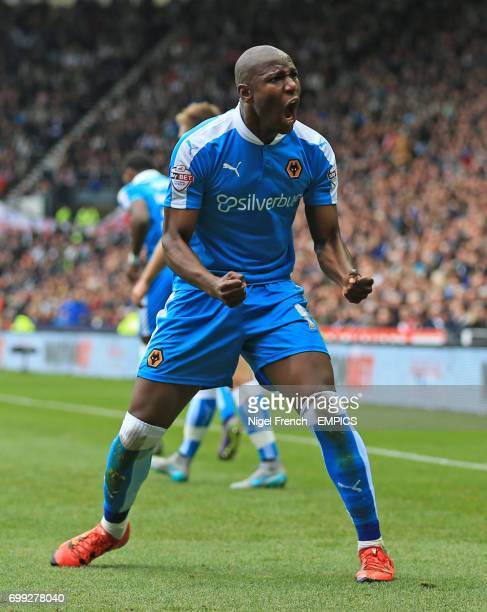 Wolverhampton Wanderers' Benik Afobe celebrates scoring his side's first goal of the game against Derby County