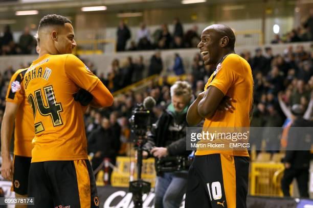 Wolverhampton Wanderers' Benik Afobe celebrates scoring their first goal of the game with teammate Jordan Graham