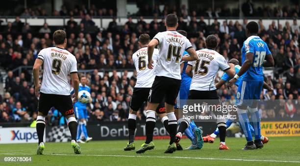 Wolverhampton Wanderers' Benik Afobe scores his side's first goal of the game against Derby County