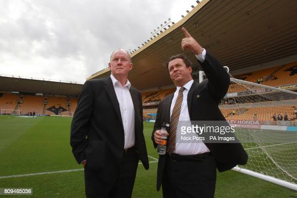 Wolverhampton Wanderers' Chairman Steve Morgan and Chief Executive Jez Moxey in front of the new Stan Cullis stand at the Molineux Stadium