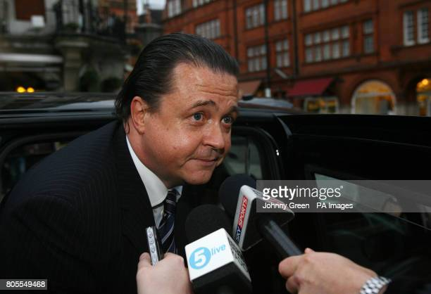 Wolverhampton Wanderers' Chief Executive Jez Moxey speaks to the media outside of the hotel where the Premier League meeting was held London