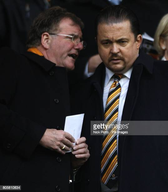 Wolverhampton Wanderers' Chief Executive Jez Moxey talks to one of their directors John Gough in the stands