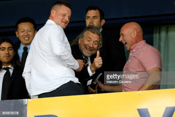 Wolverhampton Wanderers director and lead singer of rock band Led Zeppelin Robert Plant reacts during the PreSeason Friendly between Shrewsbury Town...