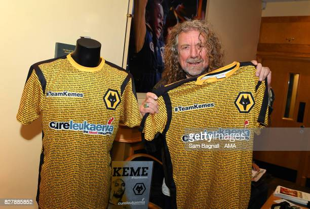Wolverhampton Wanderers fan and Led Zeppelin singer Robert Plant with a Charity shirt for Carl Ikeme of Wolverhampton Wanderers prior to the Sky Bet...