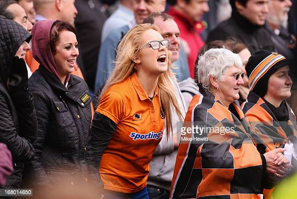 Wolverhampton Wanderers fan shouts during the npower Championship match between Brighton Hove Albion and Wolverhampton Wanderers at Amex Stadium on...