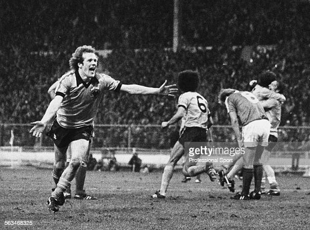 Wolverhampton Wanderers football player Andy Gray celebrates after scoring the winning goal for Wolves in the League Cup Final against Nottingham...