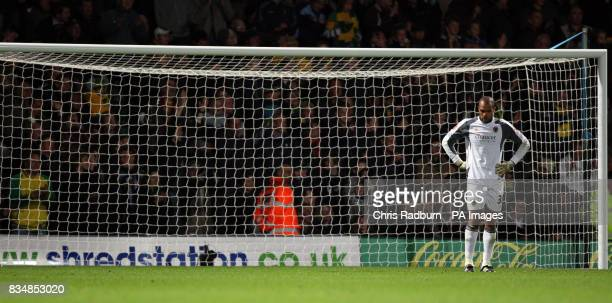 Wolverhampton Wanderers Goal Keeper Carl Ikeme appears dejected during the CocaCola Championship match at Carrow Road Norwich