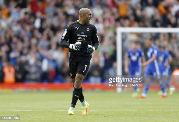 Wolverhampton Wanderers' goalkeeper Carl Ikeme celebrates their third goal