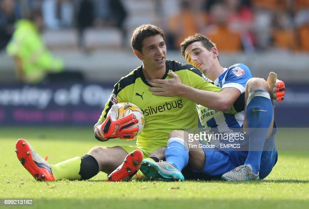 Wolverhampton Wanderers goalkeeper Emiliano Martinez and Brighton and Hove Albion's Lewis Dunk