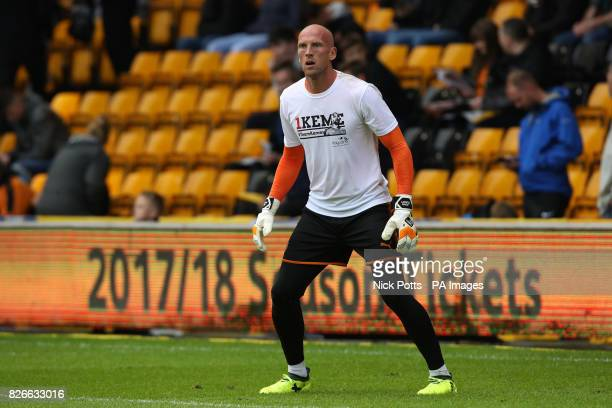Wolverhampton Wanderers' goalkeeper John Ruddy wears a shirt in support of teammate Carl Ikeme during the Sky Bet Championship match at Molineux...