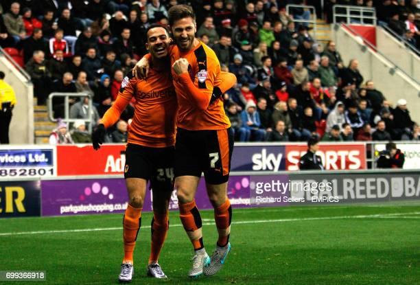 Wolverhampton Wanderers goalscorer James Henry right and Wolverhampton Wanderers' Jordan Graham celebrates the opening goal