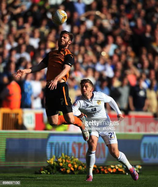 Wolverhampton Wanderers' James Henry out jumps Leeds United's Charlie Taylor