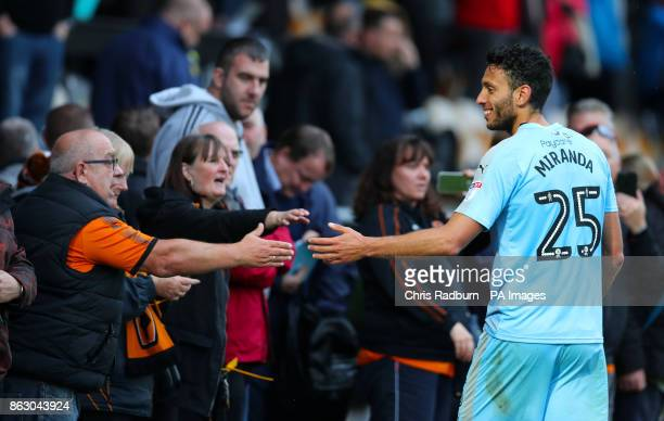 Wolverhampton Wanderer's Jefferson Roderick Miranda greets the fans after the final whistle