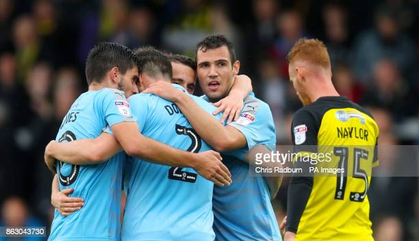 Wolverhampton Wanderers Leo Bonatini celebrates with team mates after scoring his side's fourth goal