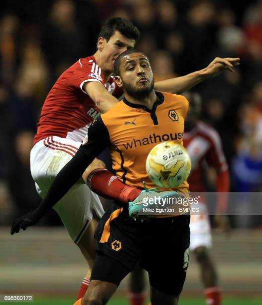 Wolverhampton Wanderers' Leon Clarke and Middlesbrough' s Daniel Ayala battle for the ball