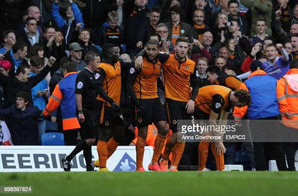 Wolverhampton Wanderers' Leon Clarke celebrates with teammates after scoring his side's second goal