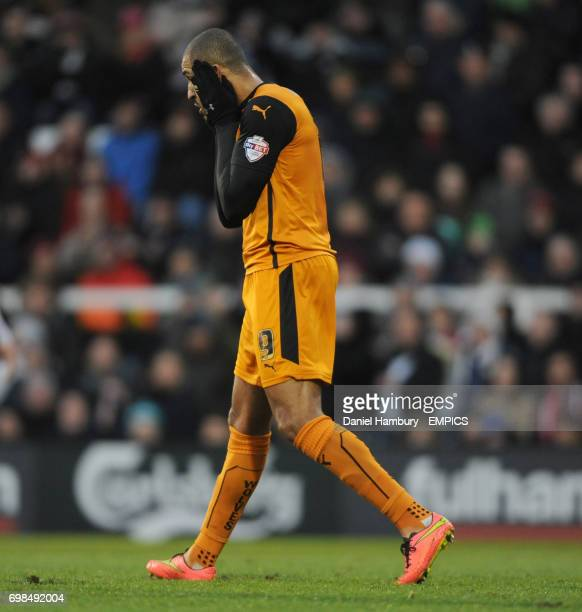 Wolverhampton Wanderers' Leon Clarke holds his head in his hands after missing a great chance to score the first goal