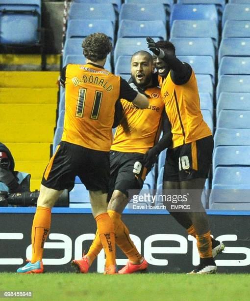 Wolverhampton Wanderers' Leon Clarke is congratulated on scoring the winning goal
