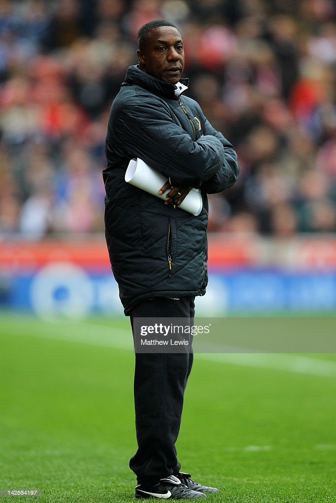 Wolverhampton Wanderers Manager Terry Connor looks on during the Barclays Premier League match between Stoke City and Wolverhampton Wanderers at the Britannia Stadium on April 7, 2012 in Stoke on Trent, England.