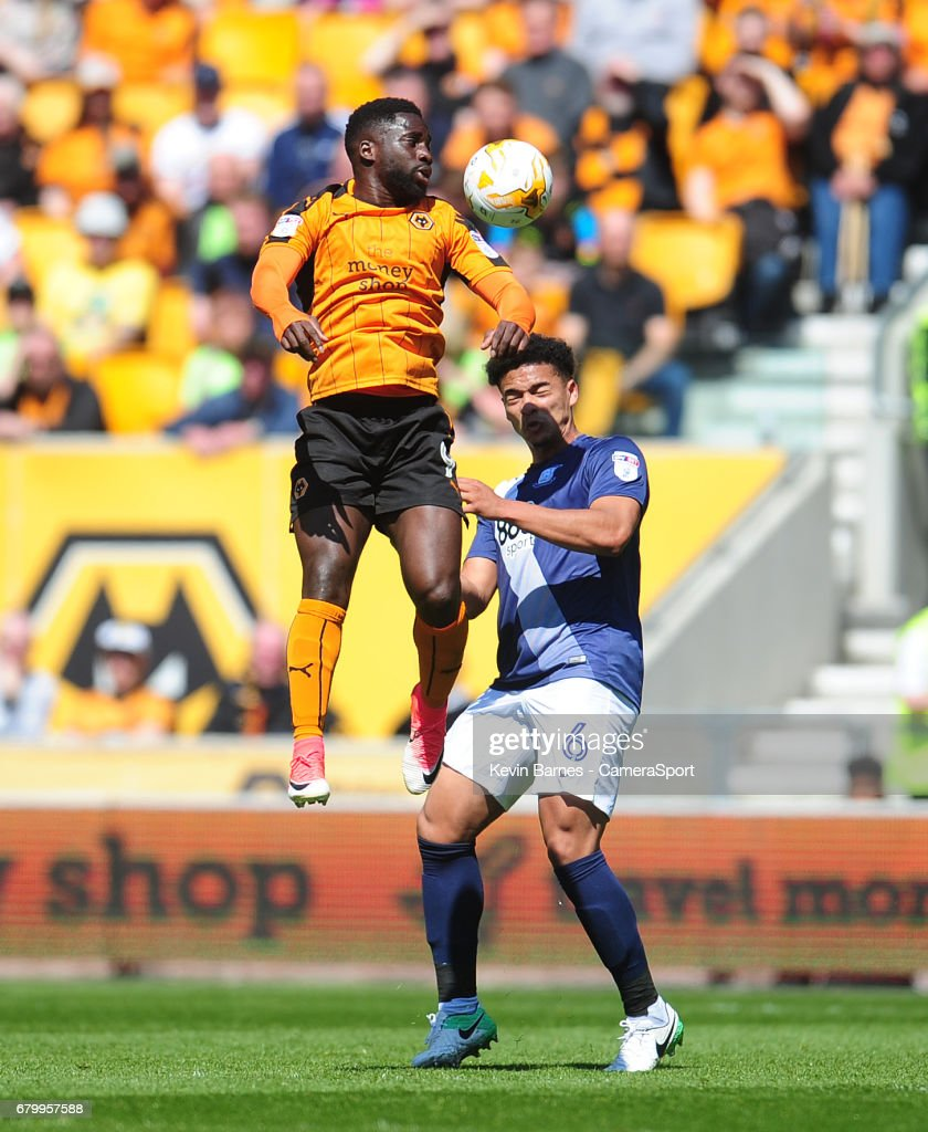 Wolverhampton Wanderers' Nouha Dicko vies for possession with Preston North End's Tyias Browning during the Sky Bet Championship match between Wolverhampton Wanderers and Preston North End at Molineux on May 7, 2017 in Wolverhampton, England. Photographer Kevin Barnes/CameraSport The EFL Sky Bet Championship - Wolverhampton Wanderers v Preston North End - Sunday 7th May 2017 - Molineux Stadium World Copyright © 2017 CameraSport. All rights reserved. 43 Linden Ave. Countesthorpe. Leicester. England. LE8 5PG - Tel: +44 (0) 116 277 4147 - admin@camerasport.com - www.camerasport.com