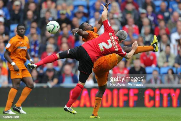 Wolverhampton Wanderers' Sylvan EbanksBlake battles for the ball with Cardiff City's Kevin McNaughton