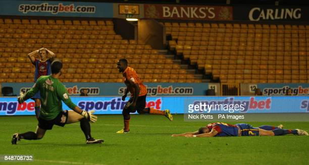 Wolverhampton Wanderers' Sylvan EbanksBlake celebrates scoring the opening goal after an error by Crystal Palace's Damien Delaney during the npower...