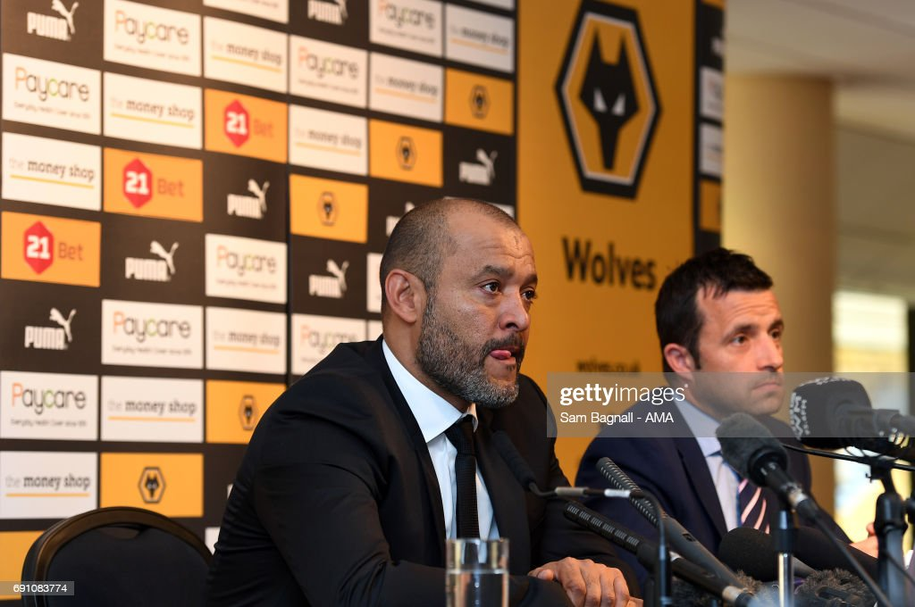 Wolverhampton Wanderers Unveil New Manager Nuno Espirito Santo at Molineux with Laurie Dalrymple Managing Director of Wolverhampton Wandererson June 1, 2017 in Wolverhampton, England.