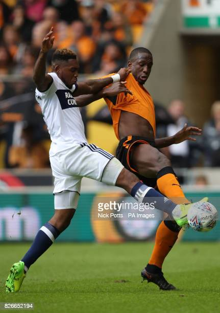 Wolverhampton Wanderers' Willy Boly and Middlesbrough's Britt Assombalonga battle for the ball during the Sky Bet Championship match at Molineux...