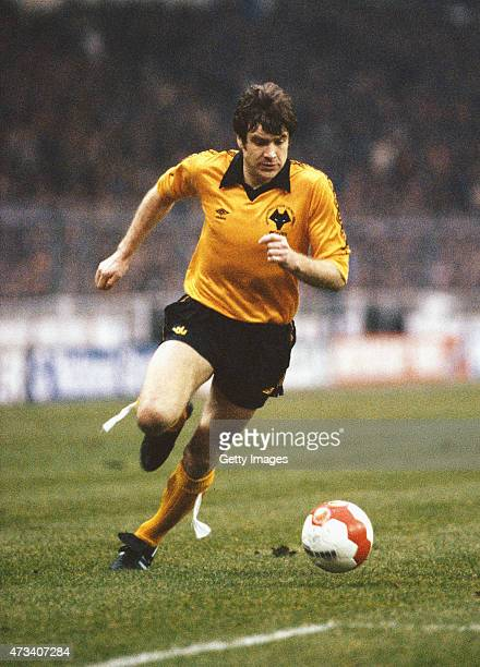 Wolves captain Emlyn Hughes in action during the 1980 League Cup Final between Wolverhampton Wanderers and Nottingham Forest at Wembley Stadium on...