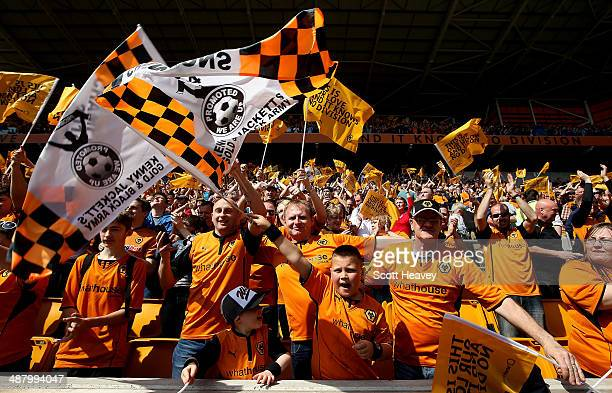 Wolves fans during the Sky Bet League One match between Wolverhampton Wanderers and Carlisle United at Molineux on May 3 2014 in Wolverhampton England